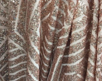 Blush Pink Geometric Designer Bombshell Stretch Sequin Lace Sold By The Yard