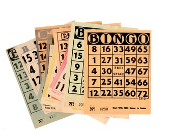 50 Vintage Bingo Sheets - Mixed Media, Altered Art, Assemblage, Collage, Scrapbooking, Art Journal, December Daily Supplies