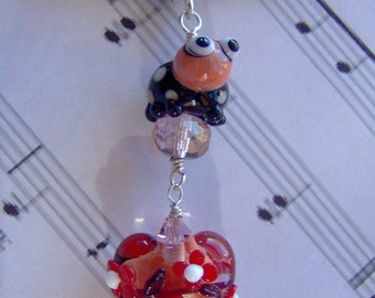 Polka Dotted Love Bug and Heart Artisan Lampwork Pendant-Valentines Day-Lady Bug-Heart-Wire Wrapped-Sterling Silver-SRAJD