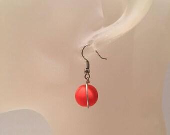 Neon orange Pearl Earrings