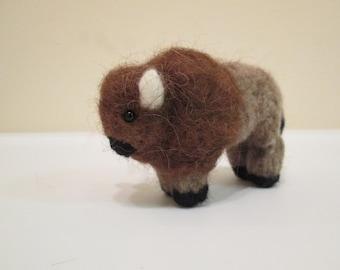 Felted Bison Doll - Needle Felted Animal - Bison Miniature