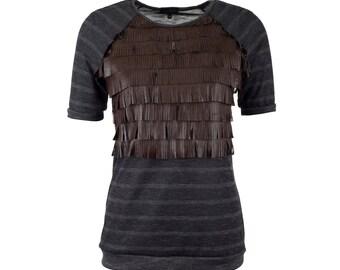 Top franges en cuir aux manches raglan, frange à manches courtes t-shirt, tailles S-XXL