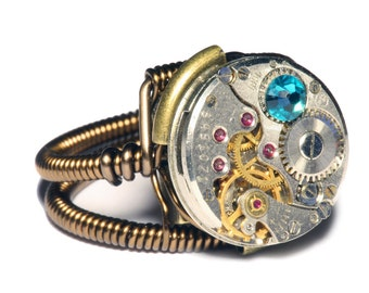 Steampunk ring, Steampunk Jewelry , Watch Movement Steampunk Ring with Aqua crystal