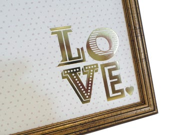 Magnet Board - Dry Erase Board - Framed Bulletin Board - Magnetic Memo Board - Makeup Board - LOVE Polka Dot Design - Magnets Included