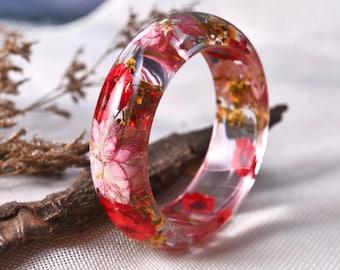 Resin bangle Ring, Resin Ring, Flower Jewelry, Resin Jewelry, Dried Flowers, Resin Flower Jewelry, Nature Ring, Botanical Jewelry