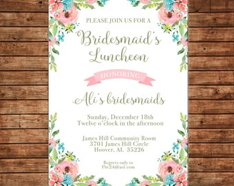 Luncheon invitations etsy invitation watercolor flowers bridesmaids luncheon shower birthday party can personalize colors wording printable filmwisefo Choice Image