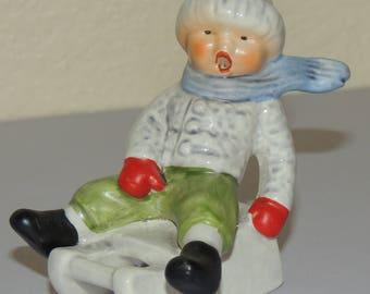 GOEBEL West Germany Little Sledding Boy Figurine