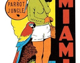 Vintage Style Miami Beach Parrot Jungle FL  Florida Travel Decal sticker