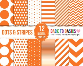 Orange Digital Paper: Halloween Scrapbooking Paper Pack, Polka Dots, Stripes, Chevron Pattern - Back to Basics Series - Commercial Use