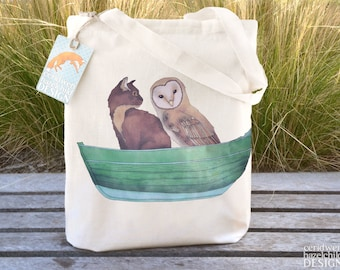 Owl and the Pussy Cat Tote Bag, Ethically Produced Reusable Shopper Bag, Cotton Tote, Shopping Bag, Eco Tote Bag, Stocking Filler