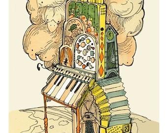 Calliope magique Illustration surréaliste d'archives Art Print