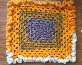 Purple, Gold, and White Barbie Doll Blanket with Ruffles - Granny Square - Hand Crochet
