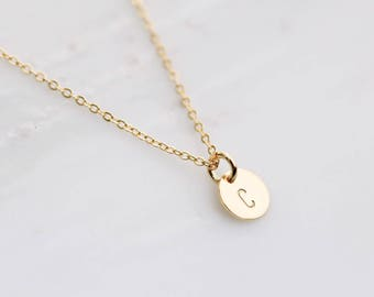 Gold Initial Necklace / Dainty Letter Necklace / Tiny Initial Layering Necklace / Personalized Necklace / Bridesmaid Gift / Birthday Gift