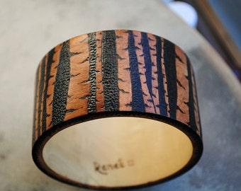 Birch Forest Bracelet Wood Burned Bangle Brown Trees Jewelry Woodland