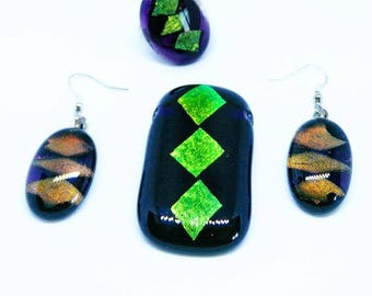 "Jewelry Pendant Earring Ring Set Individually Designed Fused Glass Handmade  ""Indean"""