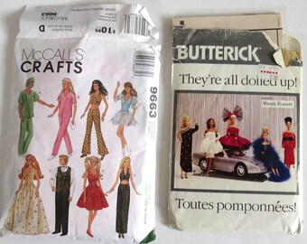 2 Vintage Barbie Doll Dress Patterns — 80s Butterick 5925/464 & 90s McCalls 9663