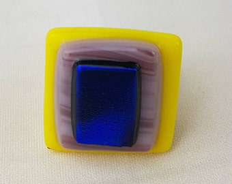 Yellow and Purple Fused Glass Ring, fused glass ring, geometric glass ring, adjustable ring, yellow and purple ring by AMEArtistry2017