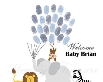 Zoo Baby Shower Guest Book Alternative Safari Baby Shower Zoo Thumbprint Guestbook Zoo Fingerprint Guestbook Safari Baby Shower Thumbprint