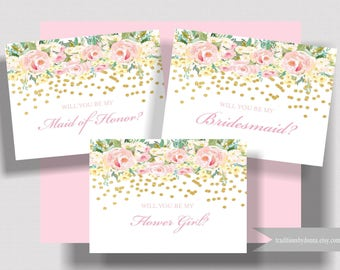 WILL YOU BE My Bridesmaid Card Blush Pink and Gold Folded Notecard | Bridesmaid Proposal | Maid of Honor Card | Flower Girl Card | Set of 5+
