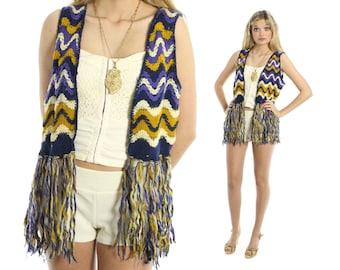 Vintage 70s Sweater Vest Fringe Chevron Hippie Boho Festival Fashion 1970s Medium M Purple White Knit Top