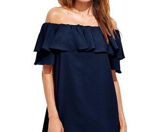 Women's Off Shoulder Ruffles Shift Loose Mini Dress