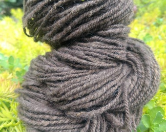 Raw buffalo fiber handspun 2 ply natural brown
