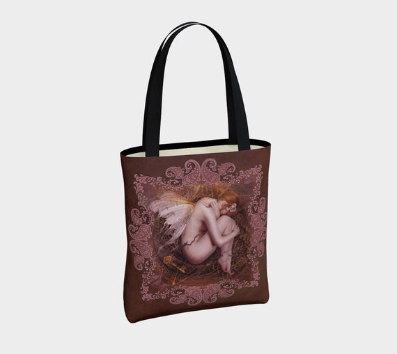 fairy art canvas unique designer tote bag