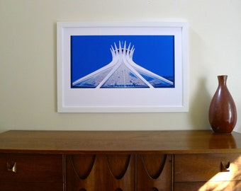 Brasilia 1960 Cathedral Poster Giclee Print