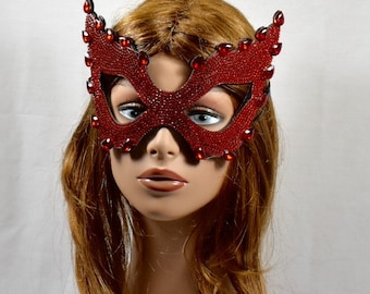 Red Rhinestone Masquerade Mask, wedding mask, Mardi Gras Mask, Masquerade Mask, Jeweled Bridal Mask, Queen Mask,Bridal masquerade party,Gift