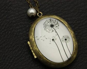 Dandelion locket, Dandelion locket, Dandelion jewelry, 3040M