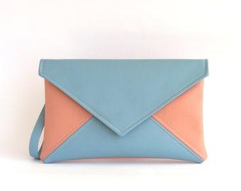 Vegan Leather Clutch Bag Womens Gift For Her Pink Sky Blue Clutch Purse Bridesmaid Clutch Handbag Small Crossbody Bag Bridal Clutch Wristlet