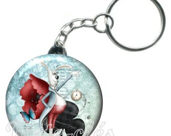 1 badge Keychain, fairy tale Alice rabbit