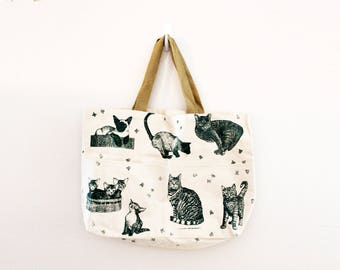vintage 90s Kitty Cats & Kibble Food Novelty Print Large Canvas Market Bag// Super Adorable Tote or Beach Bag
