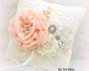 Wedding Ring Pillow Coral Peach Ivory Lace Ring Holder with Pearls Gatsby Vintage Wedding
