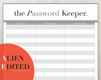 Password Tracker A4 & US LETTER  Accounts Tracker, Password Management, Password Organiser, Account Management, Account Organiser, Passwords