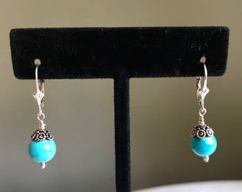 Turquoise and Bali Sterling Silver Earrings