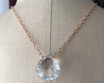 Crystal Quartz Pendent With Rose Gold Necklace...Free Shipping