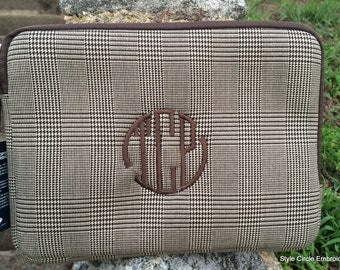 Monogrammed Tablet Case, Plaid Tablet Case, Personalized Tablet Case, Christmas Gift Under 20,