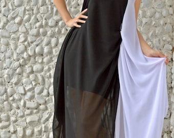 Black and White Kaftan / Extravagant Long Maxi Dress with Underneath Little Black Dress / Sheer Long Kaftan / Asymmetrical Maxi Dress TDK173