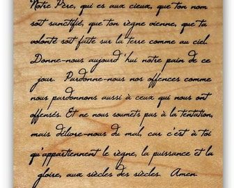 French Script - Lord's Prayer mounted Christian rubber stamp, bible verse, scripture, background stamp, Lords, Sweet Grass Stamps #22