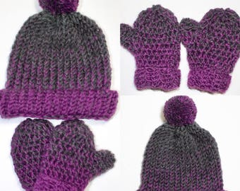 Knit hat with crochet mittens