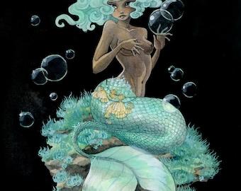 Mint Green Mermaid print - 8x10 or 11x14