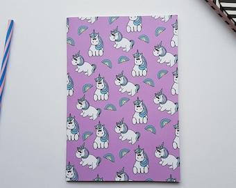 A5 Unicorn Lined Notebook - Unicorn Diary - Unicorn Journal - Unicorn Gift - Lined Paper - Illustrated Unicorn Notebook