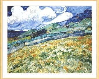 Vincent van Gogh Wheatfield with mountains cross stitch pattern / 007