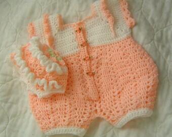 0031B Easter Baby Bubble Suit,Baby Girls Christening Set,Newborn Crochet 2PC Set,Baby Girls Ruffled Hat Pattern by CarussDesignZ