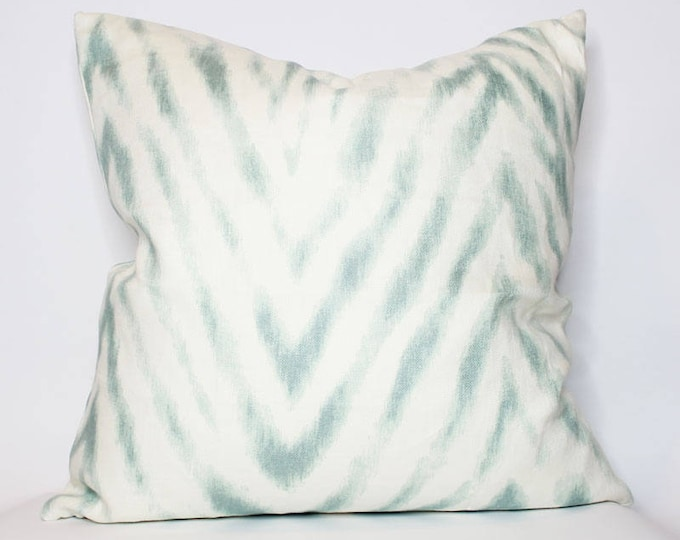 off-white and teal chevron pillow cover - COVER ONLY
