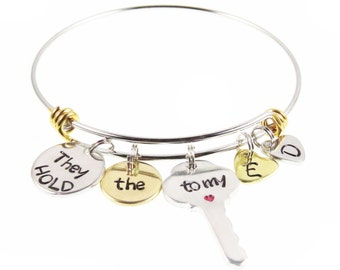 Personalized Mother's Day Gift - Hand Stamped Custom Mom Bracelet - Mother's Day Children's Name Charm Bracelet - Gift for Her