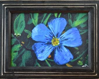 "Blue Flower, 5""x 7"", art print, modern art, acrylic, flower art, floral decor, wall decor, nature, living room, bedroom, kitchen, gift"