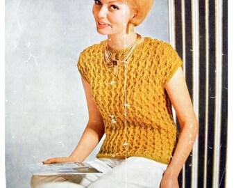 Vintage Mid-Century 1960 Laines du Pingouin Leaflet No. 344 Cap Sleeved Sweater Knitting Pattern