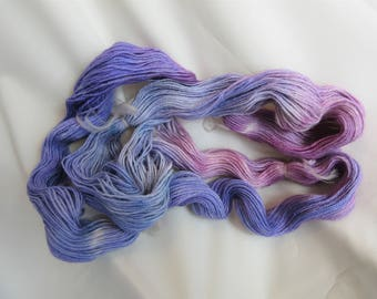 100 % Superfine Alpaca - Hand Dyed/Painted - Blue/Rasberry/Violet - 3 Ply Fingering Wt. Yarn - 200 Yds - 19-22 WPI